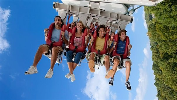 Group of teens riding Alpengeist roller coaster at Busch Gardens Williamsburg