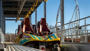 Preview of the roller coaster train in station on Pantheon, coming spring to Busch Gardens Williamsburg