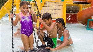 Play in our water playground with your kids