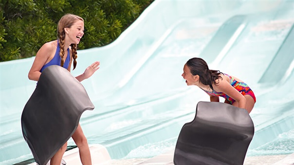 Race your friends on Nitro Racer's water slide