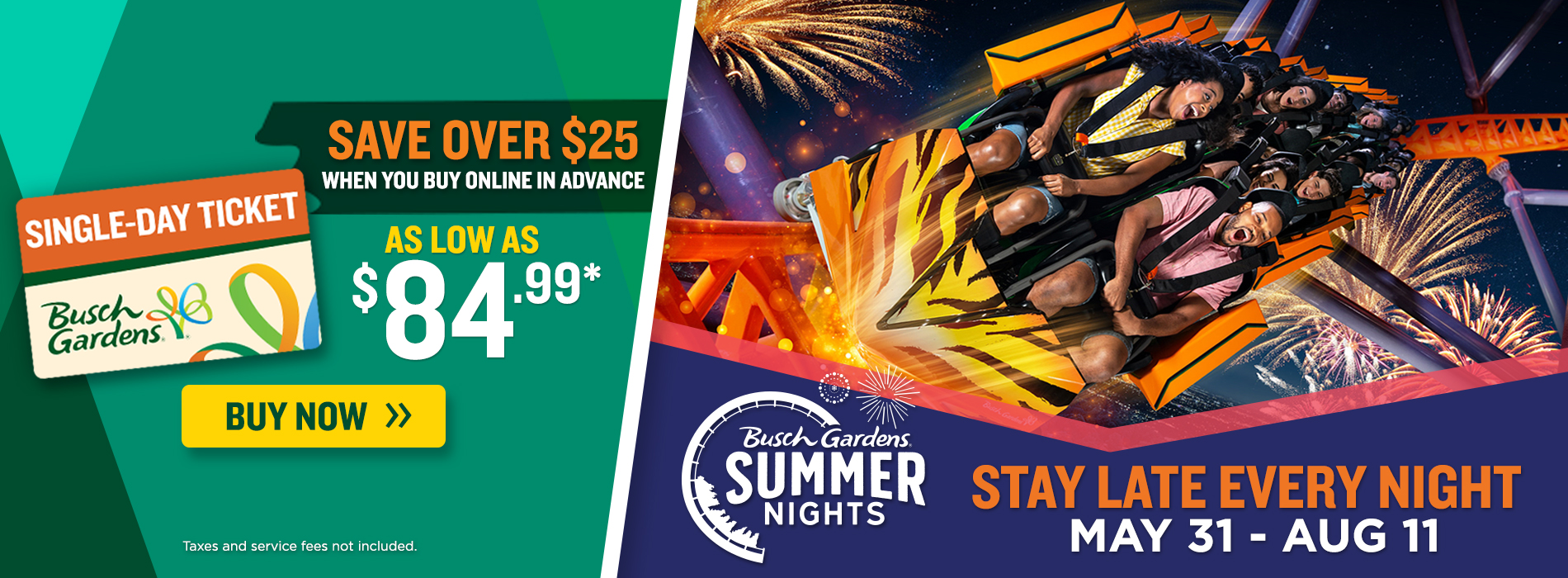 Save over $25 when you buy in advance! Enjoy Summer Nights at Busch Gardens until August 11!