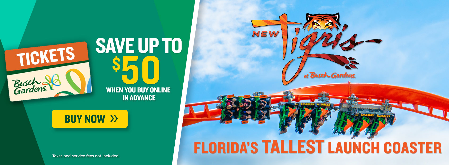 Save up to $100 on Busch Gardens Tampa Bay tickets and take on Tigris, Florida's Tallest Launch Coaster