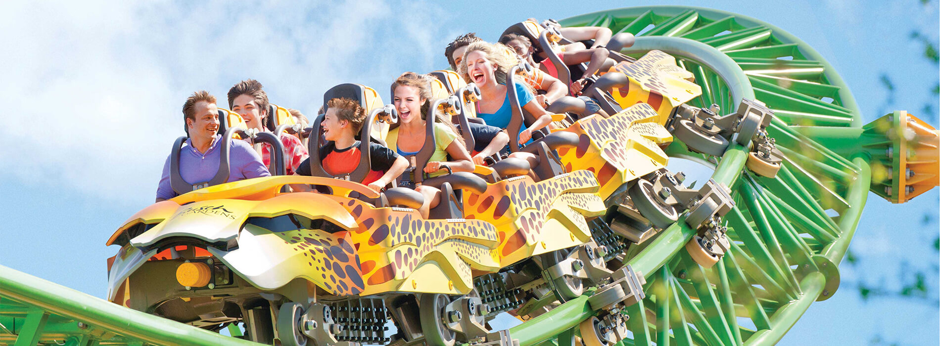 A crowd of people riding a yellow and green roller coaster at Busch Gardens Tampa Bay, located in Florida.