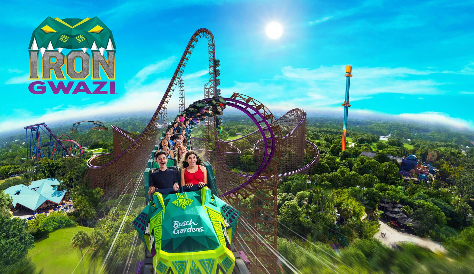Iron Gwazi, America's Tallest and the World's Fastest and Steeps Hybrid Coaster is coming to Busch Gardens Tampa Bay in Spring 2020.