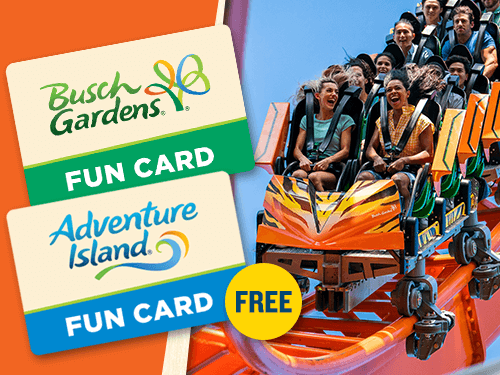 Buy a Busch Gardens Tampa Bay Fun Card and get Adventure Island for FREE with this BOGO offer