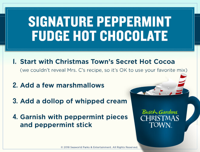 Busch Gardens Christmas Town Signature Peppermint Fudge hot cocoa recipe