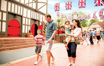 Family walking together in England at Busch Gardens