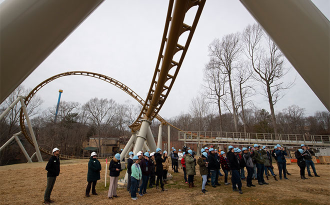 Local media, bloggers, and fan guests at Pantheon roller coaster Hard Hat Tour on January 23, 2020