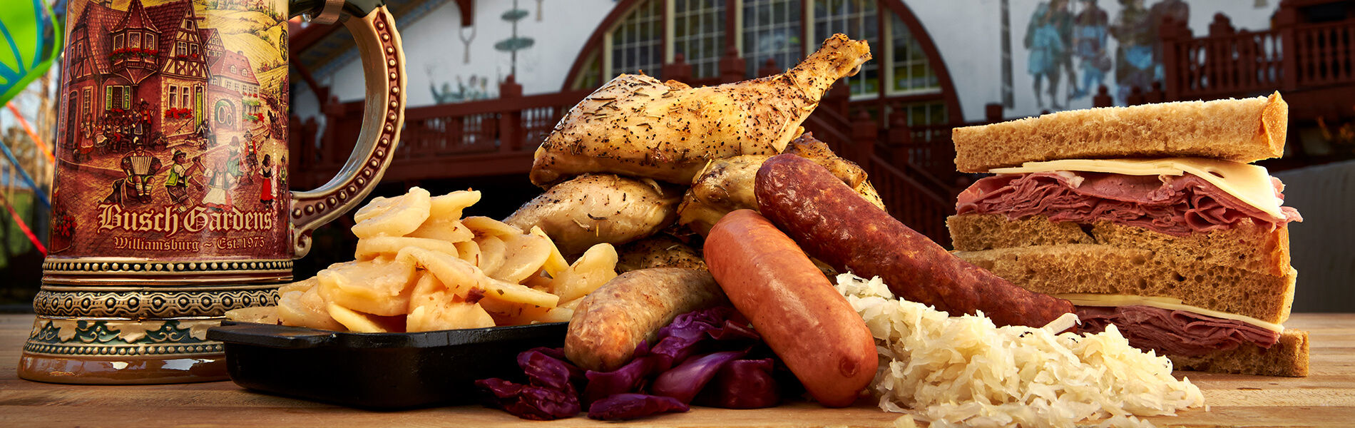 Enjoy traditional German foods as well as sandwiches, pizza, salads and more.