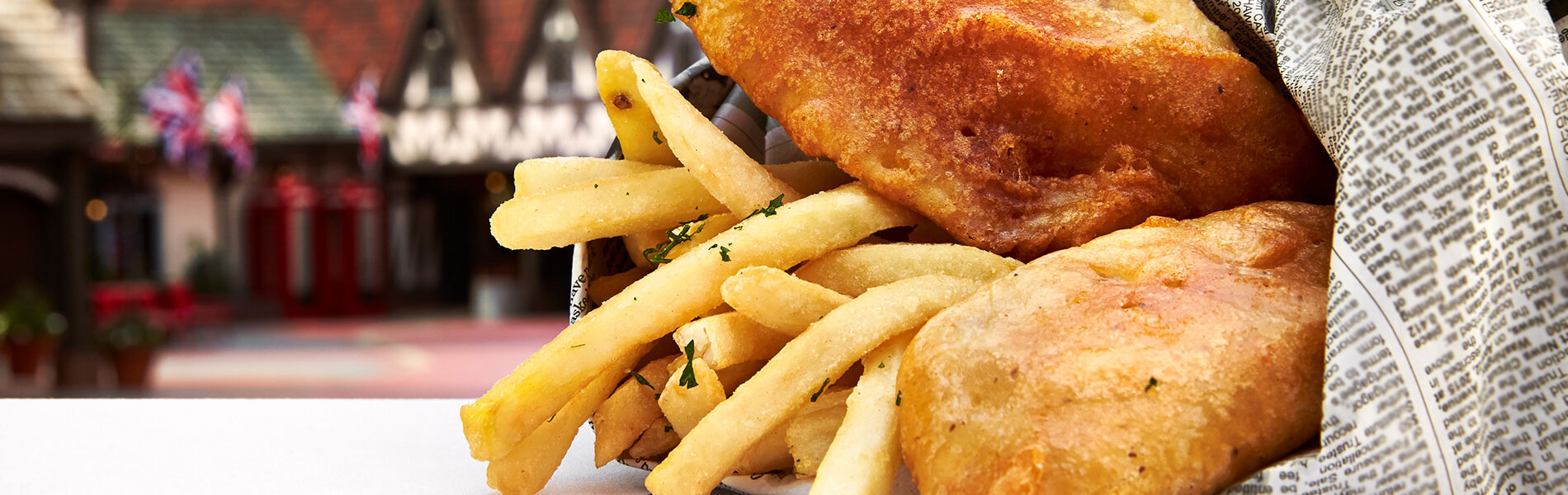 Enjoy hand-battered fish and chips, freshly prepared burgers and more