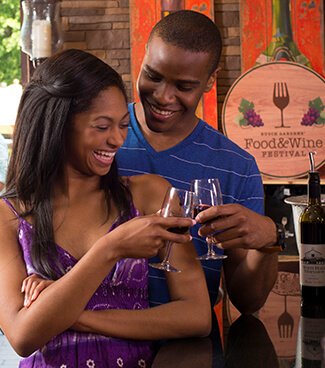 Sample different wines at wine tasting locations at Busch Gardens