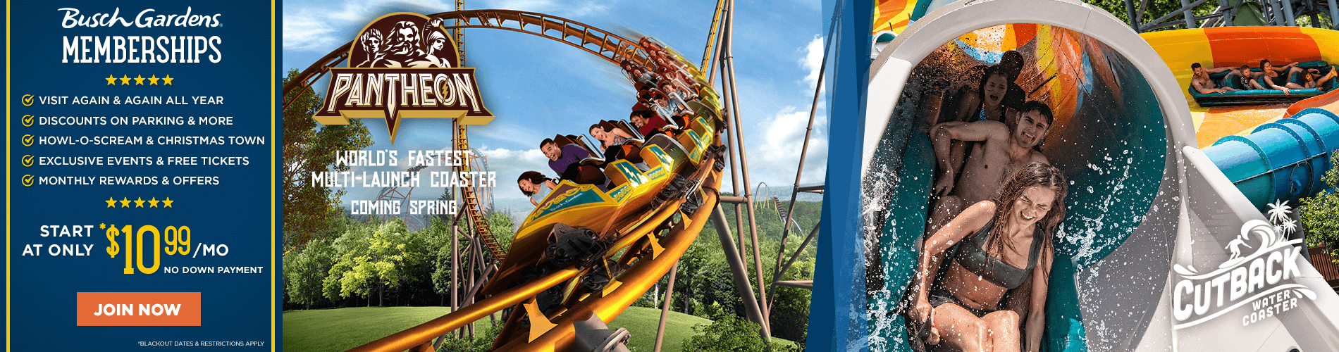 Busch Gardens Wiliamsburg Membership Plans starting at $10.99/month.
