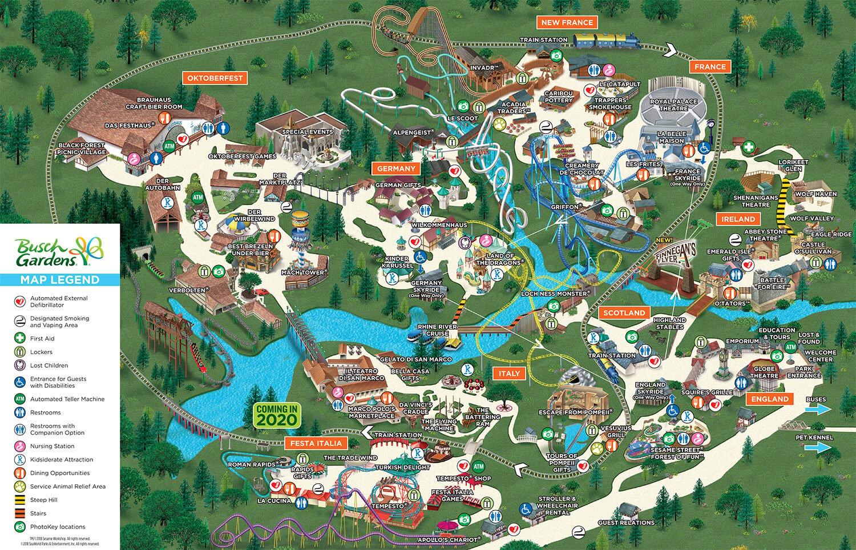 Theme Park Map Busch Gardens Williamsburg