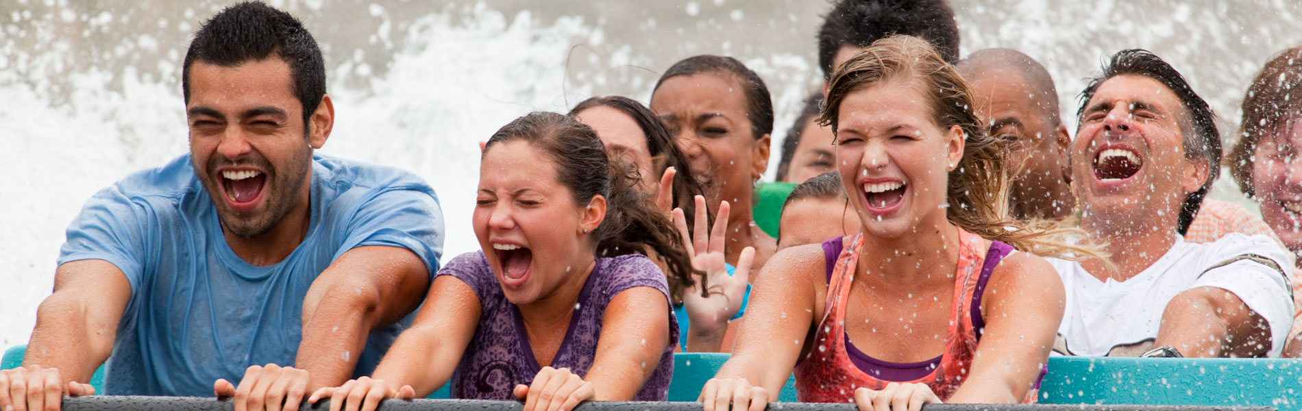 People riding Escape From Pompeii water ride at Busch Gardens Williamsburg