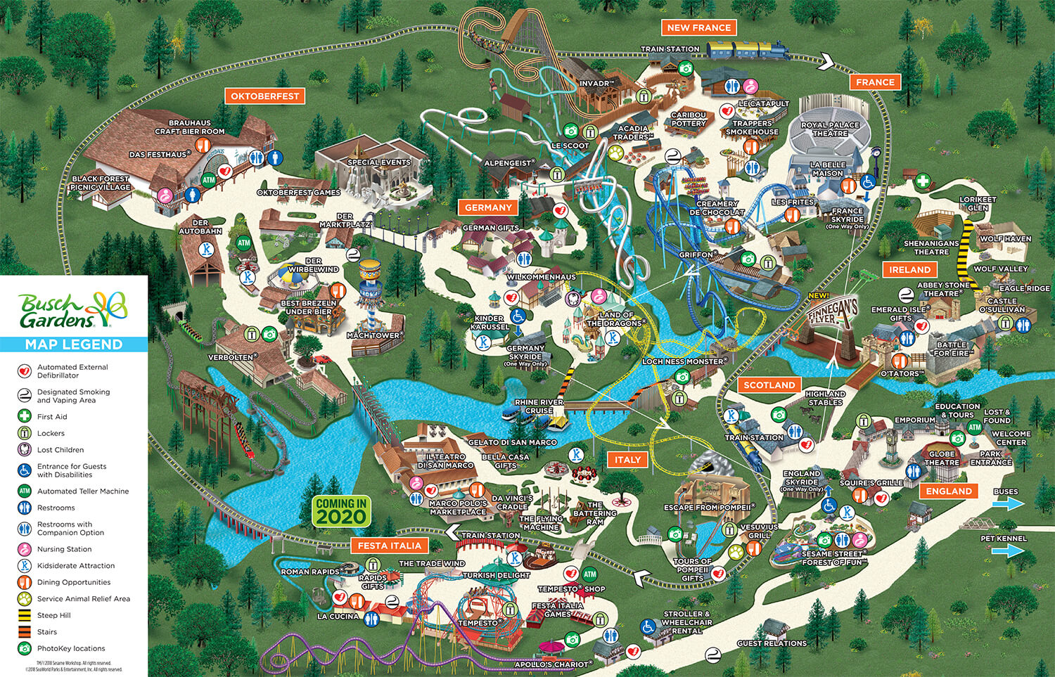 michigan's adventure map, busch gardens map, legoland map, canobie lake park map, idlewild and soak zone map, six flags map, hersheypark map, kings island map, disneyland map, knoebels map, knott's berry farm map, carowinds map, king of prussia mall map, adventure island map, aquatica map, discovery cove map, kings dominion map, dorney park map, cedar point map, peddler's village map, on sesame place map